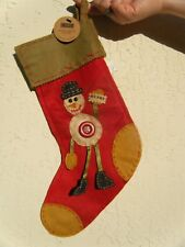 The LANG Company Primitive Country Stocking MERRY SNOWMAN Folk Art Felt Stocking