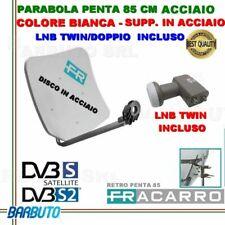 PARABOLA 85 CM IN ACCIAIO PENTA FRACARRO 211205 BIANCA + LNB/OCCHIO A 2 USCITE