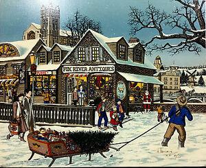 "H Hargrove 20x24 ""Yule Tide Spirits"" Painting on Canvas, 1991 Christmas Ltd. Ed."