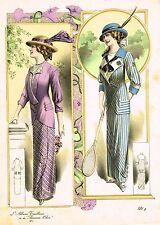 """Art Deco Fashions - """"L""""ALBUM TAILLEUR DE LA FEMME CHIC"""" - Hand Col'd Eng. - 1921"""