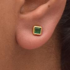 Natural Emerald Gemstone 18K Yellow Gold Stud Earrings Minimalist Fine Jewelry