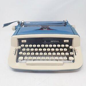 Imperial Safari Portable Typewriter WORKING & Ready To Use Vintage 1970s Blue