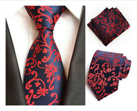 Tie and Pocket Square Set Navy Blue Red Patterned Handmade 100% Silk