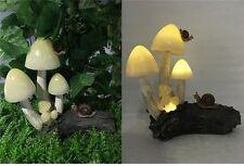 Solar Toadstools Mushrooms Garden Lawn Ornament Decor Yard Flower Bed Resin New