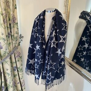 Fat face navy grey large star print cosy scarf winter warm tassel ends winter