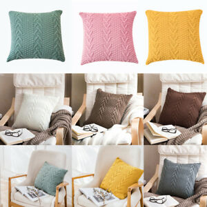 Knitted Pillowcase Sofa Bed Throw Waist Cushion Cover Pillow Case Solid Color