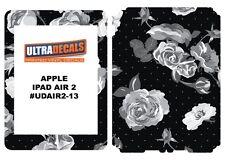 Ultradecal iPad Air 2 Skin Wrap Decal Printed Sticker 3M Vinyl Black White Rose