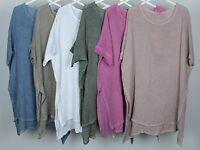 New Ladies Oversized Boxy Split Sides Cotton & Linen Italian Lagenlook Tunic Top