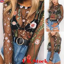Women Floral Crochet Mesh Sheer See-through Long Sleeve Crop Top T Shirt Blouse