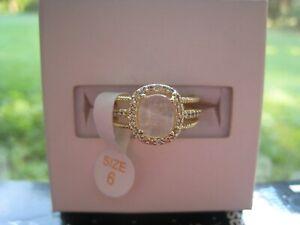 Ring Bomb Party 2869 Genuine Rose Quartz Yellow Gold size 6