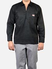 Ben Davis Long Sleeved Solid Work Shirt– Half Zipper – Black