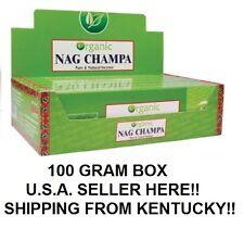 USA (Kentucky) SELLER HERE - NANDITA ORGANIC NAG CHAMPA INCENSE 100 GRAM BOX