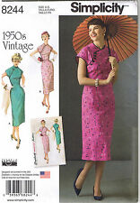 Vtg 50s Retro Classic Asian Inspired Dress Sewing Pattern Plus Sz 6 8 10 12 14