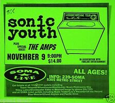 """SONIC YOUTH  / THE AMPS """"WASHING MACHINE TOUR"""" 1995 SAN DIEGO CONCERT POSTER"""