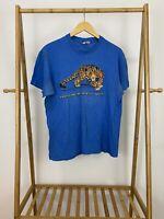 VTG Hanes 80s North Carolina Zoological Society Cheetah Single Stitch T-Shirt L