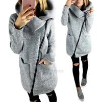Women's Slim Trench Winter Coat Wool Warm Long Outerwear Parka Jacket Plus Size