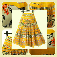 70s Vintage Tiered Gypsy Skirt German Folk Skirt floral Fruit Boho Prairie Skirt