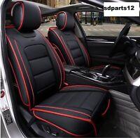 Audi VW Opel Coprisedili Nero Bordo Rosso Pelle Qualità Anteriori Copri Sedili