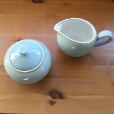 Denby Natural Blue Small Milk Jug And Covered Sugar Bowl - NEW!