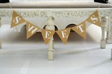 Sweets Hessian Bunting Baby Shower Decorations Wedding Favors Bride Burlap