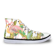 Floral Womens High Top Canvas Shoes School Lace up Fashion Sneakers Girl Walking