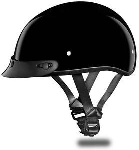 Daytona Skull Cap Half Helmet Slim Line Solid Quick Release DOT 3XS-4XL