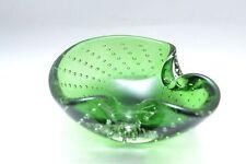 Beautiful vintage emerald green Murano art glass controlled bubble glass bowl