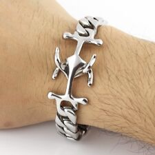 Stainless Steel Bracelet Curb Chain Anchor Clasp Men