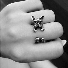 Animal Lovely French bulldog Pugs ring Wrap Ring cute for women Unisex Punk Ring