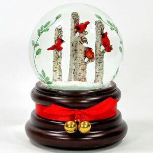 "Roman Inc CARDINALS ON BIRCH TREES 6"" Musical Glitterdome Snow Globe 33827 MIB"