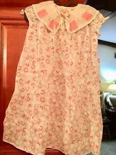 1940S VINTAGE ORGANZA PINK AND WHITE PRINT LITTLE GIRLS DRESS SIZE 5