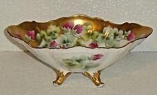 """Limoges Bowl Dish Vtg Footed  8.5"""" France Heavy Gold Trim Red Floral"""