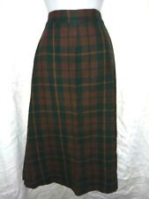 Vintage Wool Blend Skirt Size 6 Small Plaid Homemade 27 Inch Waist Grn Brown Org