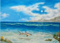 "Art origin.oil painting 12""/9"" seascape,landscape,ocean,marine,nautical,gift"