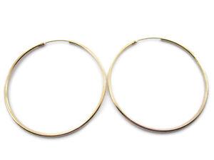 1 paio di orecchini cerchio argento 925 placcato oro giallo di 50 mm tub.1,5 mm