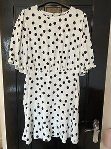 George Asda Size 12 White Black Polka Dot Mini Dress Worn Once