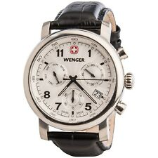 Wenger Swiss Army Urban Classic Chronograph Watch - 43mm Black Leather Strap NEW