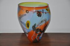 """Wes Hunting  large Art Glass Vase 14"""" tall about 12"""" wide"""