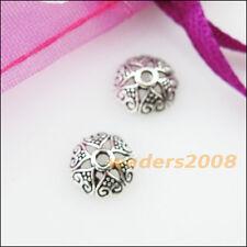 50 New Connectors Heart Flower Tibetan Silver End Bead Caps 8mm