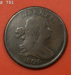 """1804 Draped Bust Half Cent """"VG/F"""" *Free S/H After 1st Item*"""