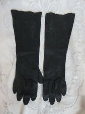 Pair Black Embroidered Leather Tailored Cotton Ladies Gloves