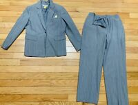 Tahari Womens Mohair Wool and Rayon Light Grey w/Yellow Pin Stripe Suit Set Sz12