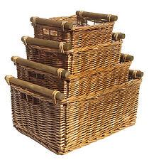 Kitchen Log Full Wicker Storage Basket With Handles Xmas Empty Hamper Basket Pine Set of 4 X Large