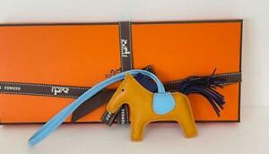 Hermes Rodeo Grigri PM Bag Charm Horse New Ambre/Celeste/Bleu Sapphire