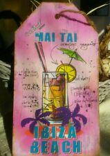 Holzbild IBIZA BEACH MAI TAI MDF Holzschild Wandbild Schild Bild Retro