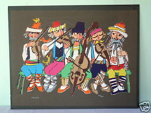 VINTAGE SIGNED & NUMBERED JOVAN OBICAN MUSICIANS PAINTING / LITHOGRAPH ON BOARD