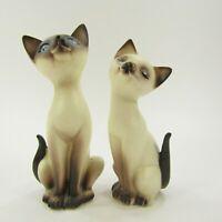 "Vintage Cat Salt Pepper Shakers Set Siamese Japan Bisque Blue eyes 4""   INV415"