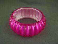"Fuchsia Pink metallic iridescent plastic hinged bangle cuff 1.25"" wide bracelet"