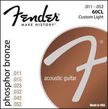 Fender 60CL Phosphor Bronze Acoustic Guitar Strings 11-52 custom light gauge
