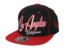 NEW VINTAGE LOS ANGELES EMBROIDERED FLAT BILL SNAPBACK CAP HAT BLACK/RED